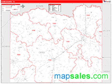 cass county texas map cass county tx zip code wall map line style by marketmaps