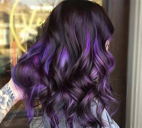 brunette hairstyles with purple highlights purple highlights for brown hair www pixshark com