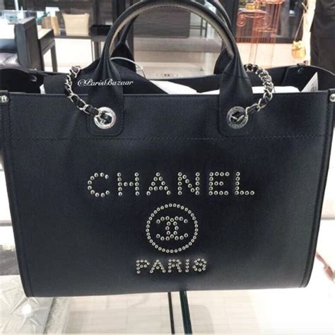 Deauville Shopper Tote Bags Printed chanel studded leather deauville bag from 2018 act 1 spotted fashion