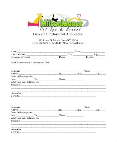 Sle Employment Application Form 9 Free Documents In Word Pdf Daycare Application Template