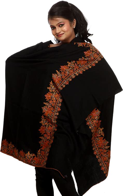 Pashmina Black jet black plain pashmina shawl with embroidered chinar leaves on border