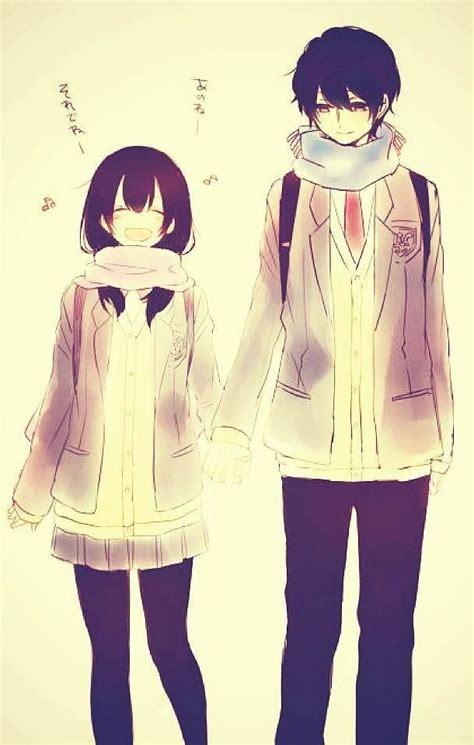 anime couple holding hands anime couple 3 image 1309786 by korshun on favim com