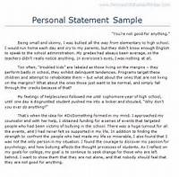 Personal Statements For College  Best Template Collection