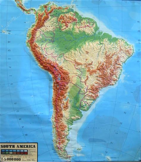 relief map america large raised relief map of south america