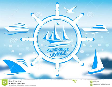 A Free Logo With A Sailing Vessel And Steering Wheel Stock Vector Illustration Of Summer Enjoyment