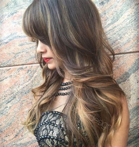 dark brown shag cut with highlights 50 cute long layered haircuts with bangs 2018