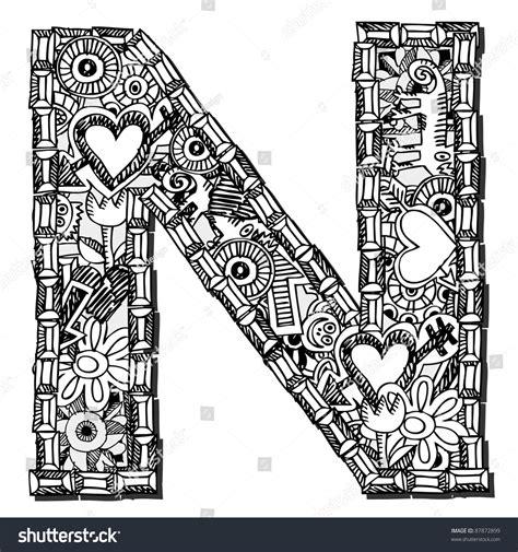 doodle huruf a z childlike doodle abc letter n stock illustration