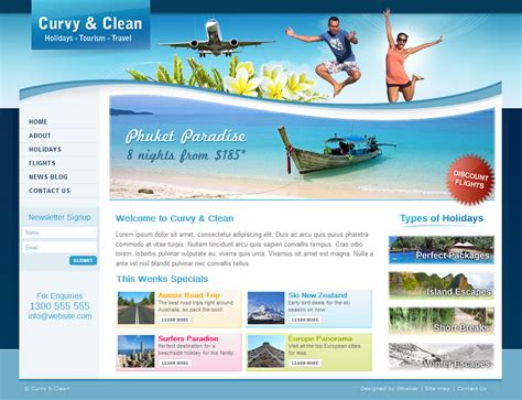 tourism templates free curvy and clean travel template html by dtbaker