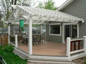 Ground Level Deck With Pergola by Two Toned Composite Decking Ground Level Deck With Painted