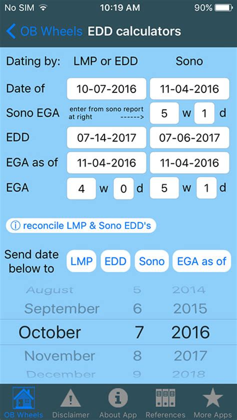 ob wheels app  mobile calendar calculator  determine