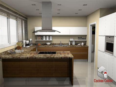 cocina integral moderna color cerezo en pvc