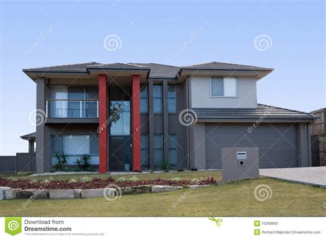 Craftsman 2 Story House Plans Modern Grey House With Red Pillars Stock Photo Image