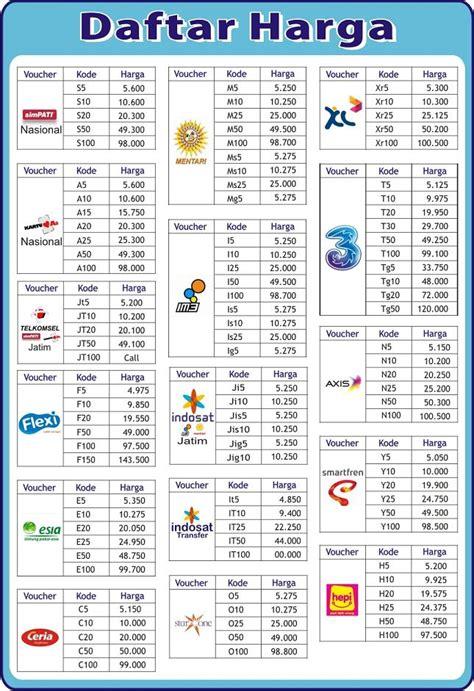 cara membuat brosur daftar harga pulsa daftar harga kios pulsaku distributor pulsa murah