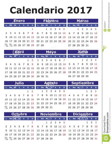 Calendario En Espanol Calendario Espa 241 Ol 2017 Ilustraci 243 N Vector Imagen