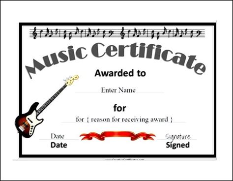 music certificate template pdf sle templates