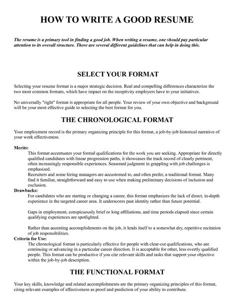 How To Make A Good Resume Best Template Collection How To Write Work Template