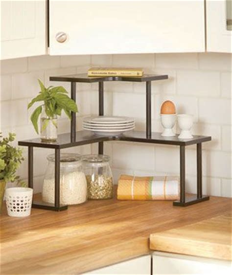Kitchen Countertop Shelf 2 Tier Wooden Corner Shelves Home Sweet Home