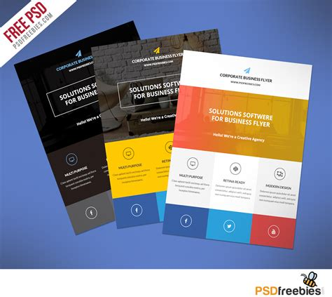 psd brochure template free free flat clean corporate business flyer template
