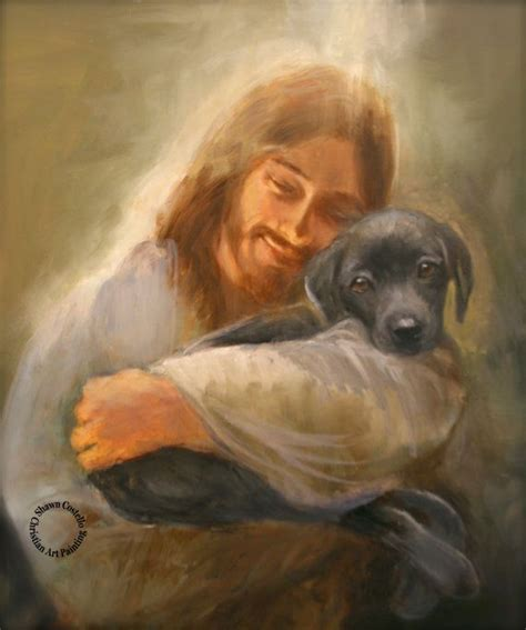 jesus in dogs safe in his everlasting arms jesus with a black lab