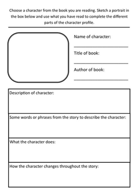 year 3 literacy hw character profile template by