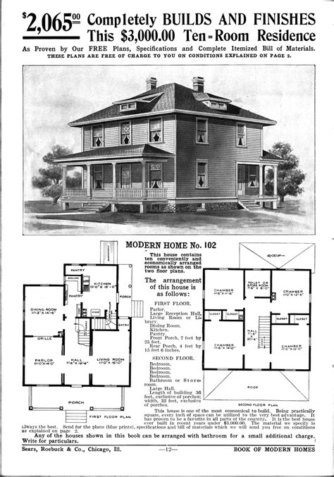 Time 2308 1913 American Foursquare House Plans