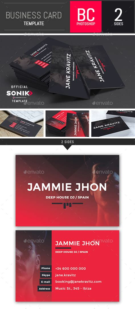 Dj Business Card Templates Photoshop by Sonik Dj And Musician Business Card Photoshop Template By