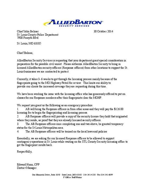Letter Security Services Sle Letter From Alliedbarton Security Services Stltoday