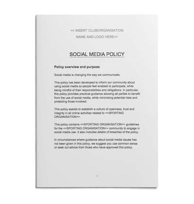 Social Media Policy Template For Sport Play By The Rules Making Sport Inclusive Safe And Fair Social Media Policy Template For Enforcement