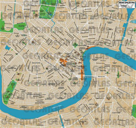 new orleans city map geoatlas city maps new orleans map city illustrator