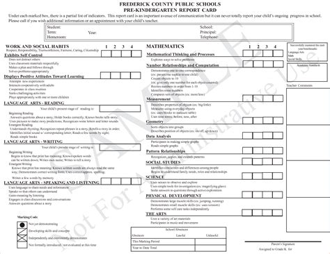 preschool report card template free 6 kindergarten report card templatereport template