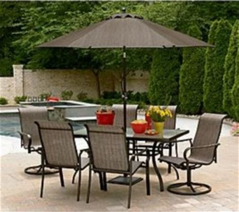 7 Piece Outdoor Patio Dining Set Glass Table And 6 Sling 7 Patio Dining Set With Swivel Chairs