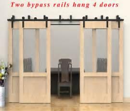 Bypass Barn Door Track Ccjh 8 20ft Bypass Rustic Sliding Barn Wood Door Hardware