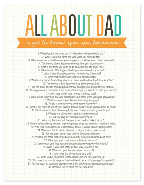 printable life expectancy questionnaire all about dad questionnaire free printable g 246 r det sj 228 lv
