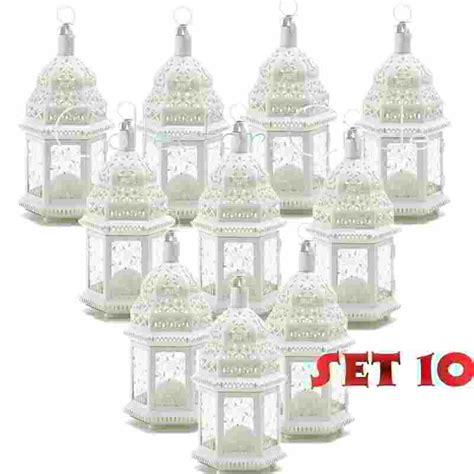 set of 10 white moroccan candle lantern chic wedding