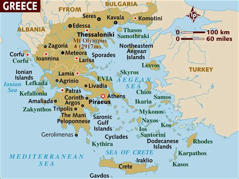 Lonely Planet Greece map of greece a basic map of greece and the isles