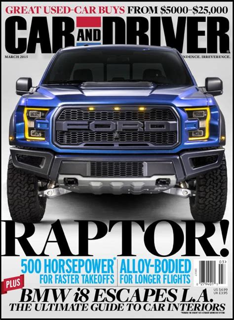 car and driver raptor report pickup makes cover of car and driver