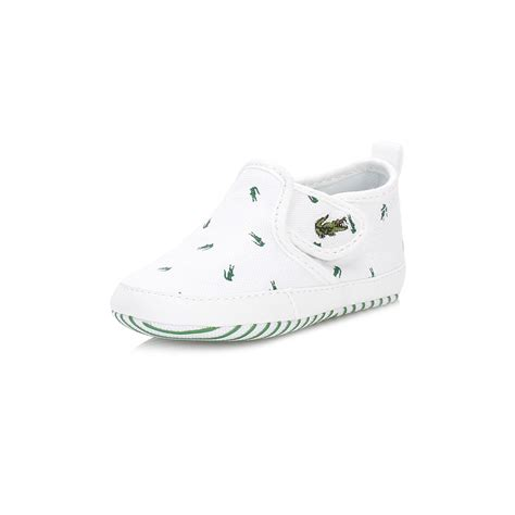 Baby Boy Crib Trainers Lacoste Boys Trainers White Canvas Gazon Crib 116 2 Spb Baby Boots Ebay