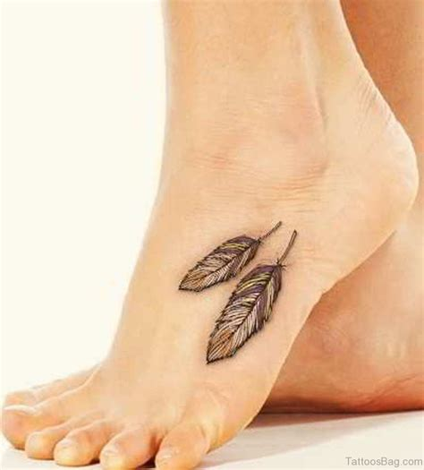 60 beautiful feather tattoos on foot