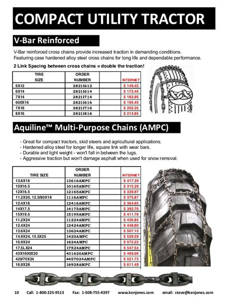 compact tractor tire chains catalog