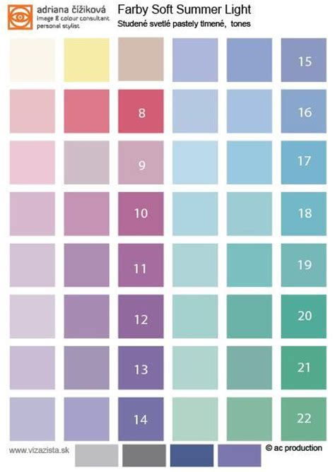 Light Summer Color Palette by Soft Summer Light Tonal Palette Is More Softened Than