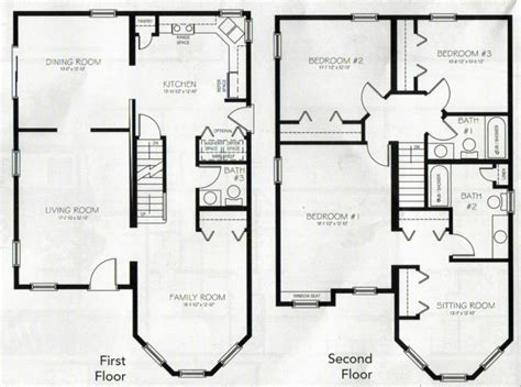 3 bedroom 2 floor house plan two story house plans