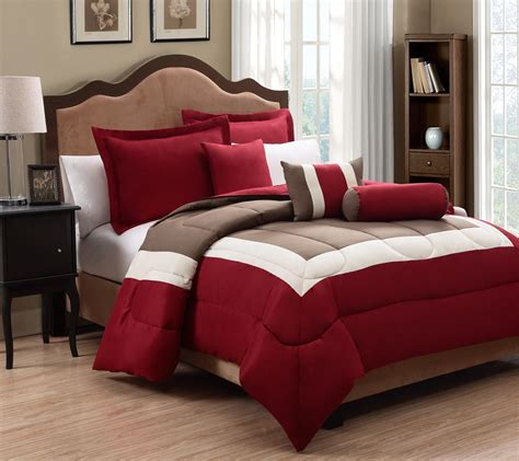 6 Piece Queen Tranquil Red And Taupe Comforter Set