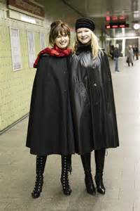 raincoated girls cape fashion