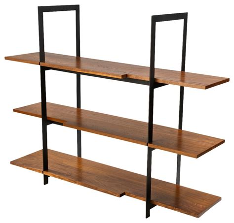Wood and Black Steel Shelving Unit   Modern   Display And Wall Shelves   by Stylo Furniture and