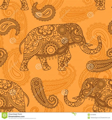 indian pattern background vector indian elephant seamless pattern stock vector