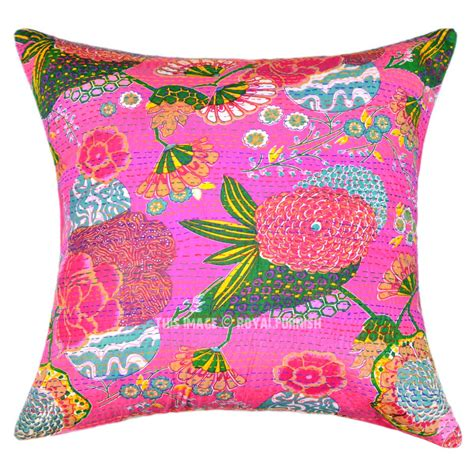 oversized decorative couch pillows oversize decorative square kantha throw pillow cover boho