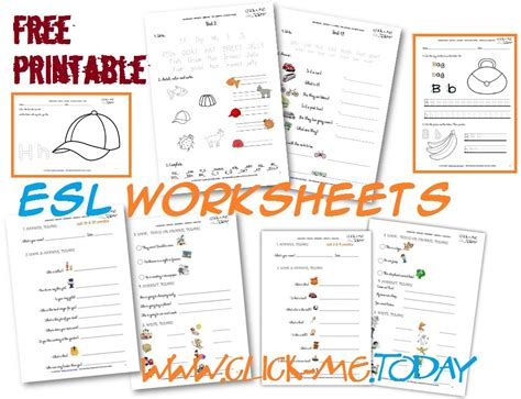 Free Printable English Worksheets Beginners | free printable esl worksheets for beginners