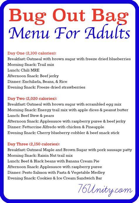 dinner menu for adults 3 bug out bag sle menus 76 unity