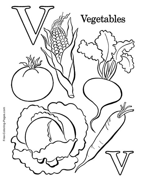coloring pages vegetables preschoolers alphabet coloring pages v is for vegetables