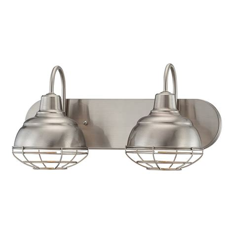 light fixtures bathroom vanity shop millennium lighting 2 light neo industrial satin nickel standard bathroom vanity light at